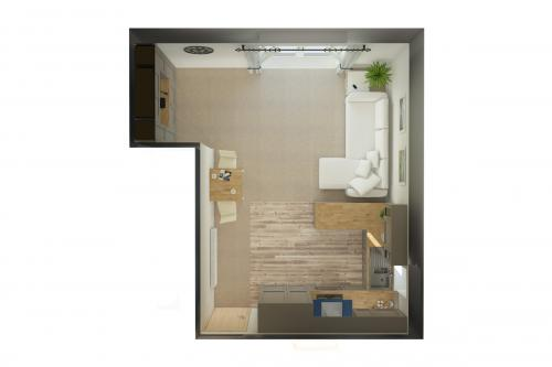 Station View Apartment Plan View Kitchen/Living/Dining